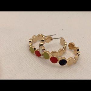 Enamel Button Color Hoop Earrings! Super Cute!!